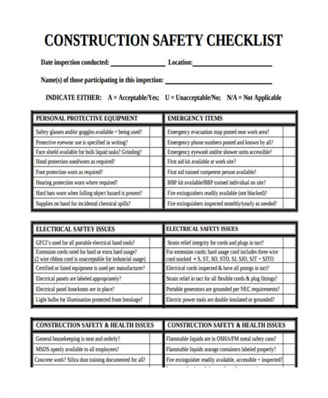 tosha building safety checklist template home fire inspection checklist nj homemade ftempo