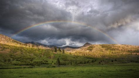 rainbow   storm widescreen wallpaper wide