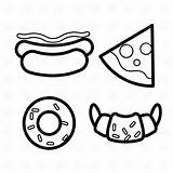 Pizza Clipart Donut Vector Coloring Icon Dog Slice Outline Cliparts Icons Doughnut Graphic Clip Burger Pages Pizzeria Chef Cafe Restaurant sketch template
