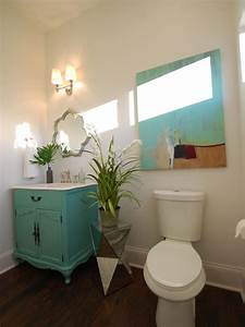 Small, Neutral, Bathroom, With, Pops, Of, Turquoise