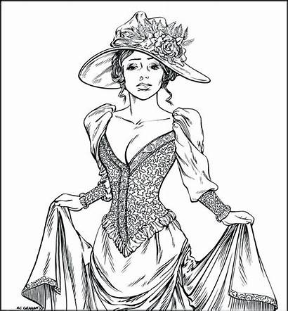 Coloring Pages Victorian Era Ladies Woman Adults
