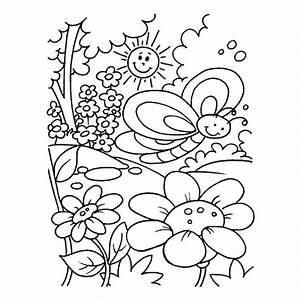 Jardin Dessin Couleur : coloriage jardin fleurs sous le soleil dessin gratuit ~ Melissatoandfro.com Idées de Décoration