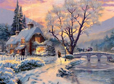 thomas kinkade winter evening gathering crafts art
