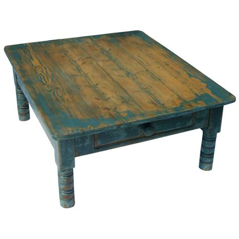 Blue Painted Pine Coffee Table At 1stdibs