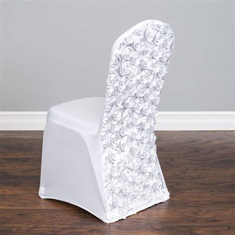 To Cover Chairs by Linentablecloth Satin Rosette Stretch Banquet Chair Cover