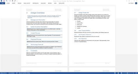 design document templates ms wordexcel data