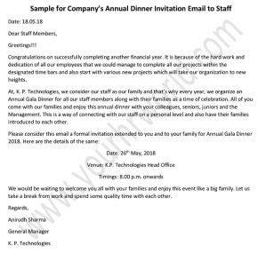 annual dinner invitation email  staff dinner