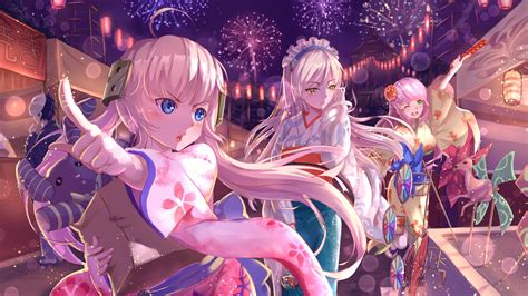 Anime New Year Wallpaper - 3200x1800 anime festival fireworks
