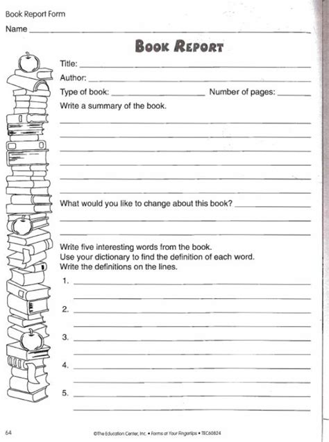 book report worksheet free teaching resources lesson plans