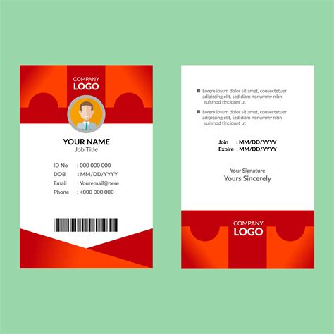 red id card template   vectors clipart