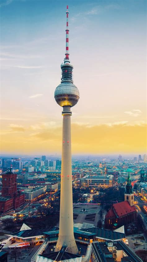 wallpaper fernsehturm berlin tv tower germany