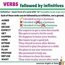 Verbs Followed By Infinitives  Gerund And Infinitive Pinterest