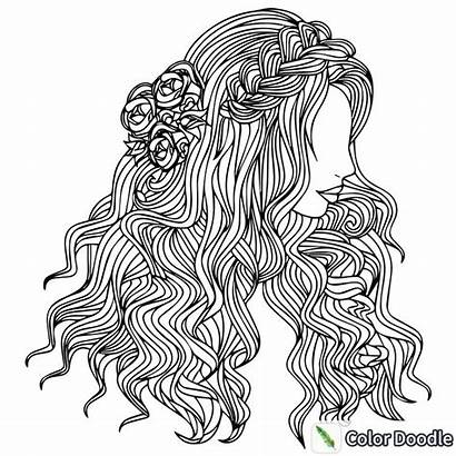 Coloring Hair Pages Adult Colouring Books Therapy