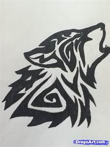 How to Draw a Howling Tribal Wolf, Step by Step, Tattoos ...