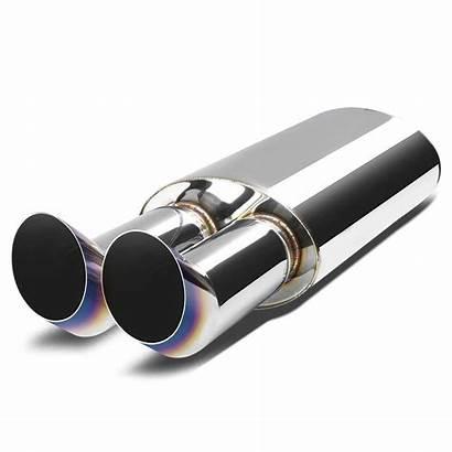 Exhaust Tip Muffler Dual Burnt Stainless Inlet