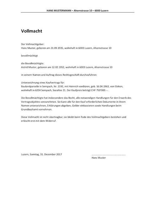 vollmacht vorlage schweiz word format muster