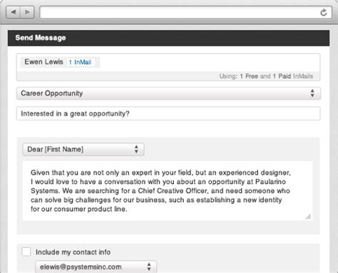linkedin inmail templates features