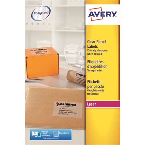 avery clear laser label a4 1 per sheet pack of 25 l7567