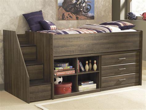 sawyer twin loft bed  left storage steps  signature