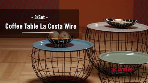 kare design coffee table la costa wire 3set