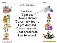 daily routines matching worksheet english activities