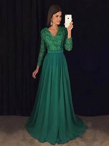 A Line V Neck Emerald Green Long Sleeves Prom Dress, Green ...