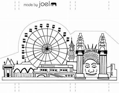 Luna Park Sydney Paper Coloring Template Opera