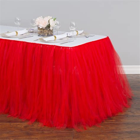21 ft. Tulle Tutu Table Skirt Red