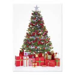 decorated christmas tree and presents 11 cm x 16 cm invitation card zazzle