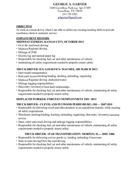Sle Resume For Dump Truck Driver by Truck Driver Description For Resume Ideas Professional Driver Templates To Showcase Your