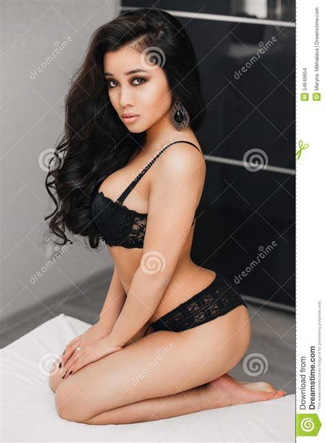 beautiful young brunette woman  long hair  stock