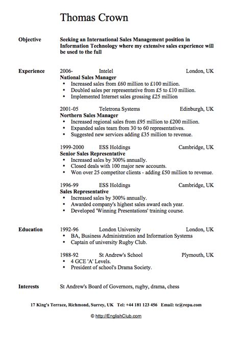 sle resume cv for sales manager business english englishclub