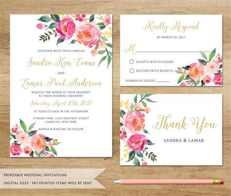 watercolor floral wedding invitation printable wedding
