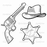 Sheriff Cowboy Coloring Pages Western Badge West Star Wild Objects Gun Hat Sketch Callie Cowboys Doodle Saloon Vector Clipart Country sketch template