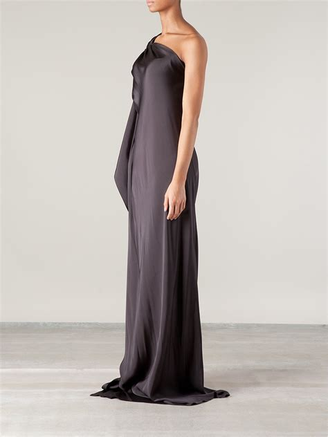draped one shoulder dress lanvin draped one shoulder gown in gray lyst