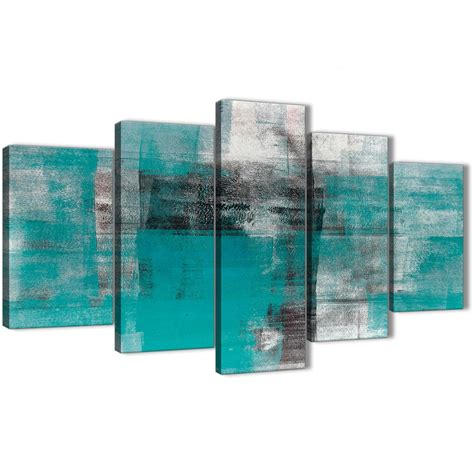5 part teal black white painting abstract office canvas wall decor 5399 160cm xl set artwork