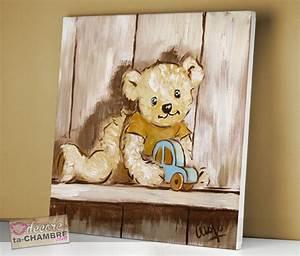 Tableau Deco Chambre : tableau ourson voiture pour chambre de bb vente de tableaux nounours pour la dco d 39 enfants ~ Teatrodelosmanantiales.com Idées de Décoration