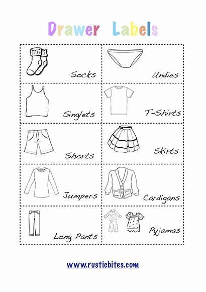 Labels Printable Drawer Dresser Clothing Kid Clothes