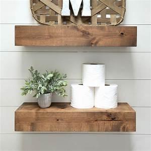 Farmhouse, Floating, Shelf, 24, Inch, -, Walnut, Finish, Set, Of, 2