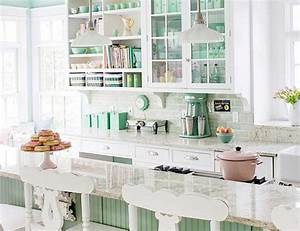 15 soft pastel colored kitchen design ideas rilane With kitchen colors with white cabinets with green glass candle holder