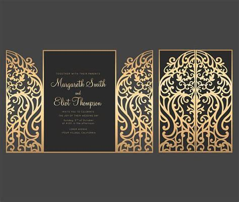 gate fold door wedding invitation card template etsy