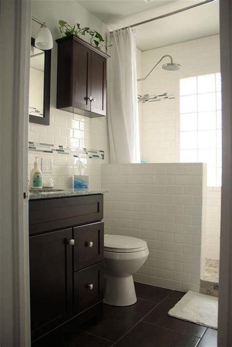 Small Bathroom Remodel Subway Tile Dark Cabinets Easy Way