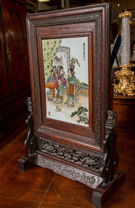 chinese table screen  wood frame  stdibs