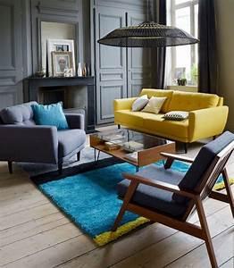 Les 25 meilleures idees de la categorie gris bleu jaune for Tapis oriental avec canapé vintage la redoute