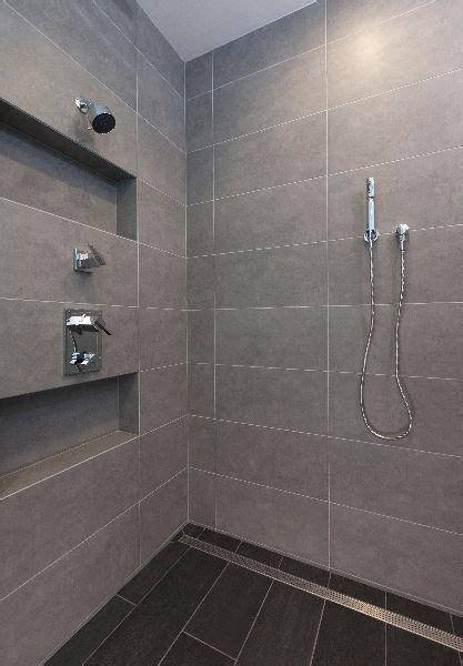 Fall In Shower Floor by Large Format Tile Shower And Linear Shower Drain Photo