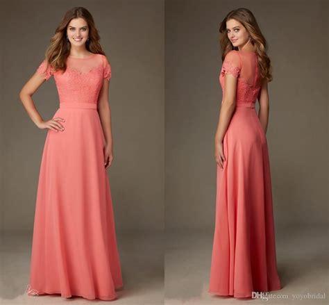 Modest Designer Coral Lace Bridesmaid Formal Dresses 2017