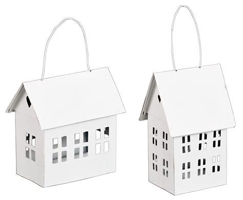 Metallwindlicht Haus Zum Hängen In Weiß Teelichthalter
