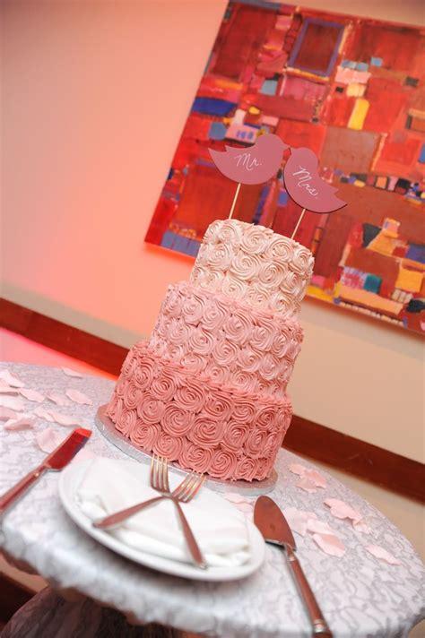 Ombre Pink Buttercream Rose Wedding Cake Wedding Coral