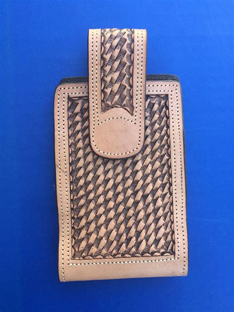 western cowboycowgirl tooled leather cell phone case ebay