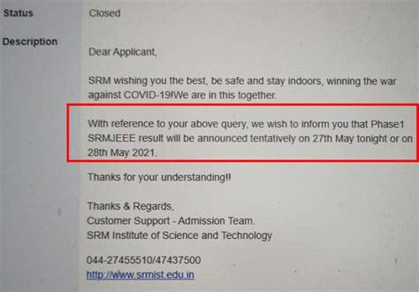 SRMJEEE 2021 Results Can Be Postponed To Tomorrow; SRM ...